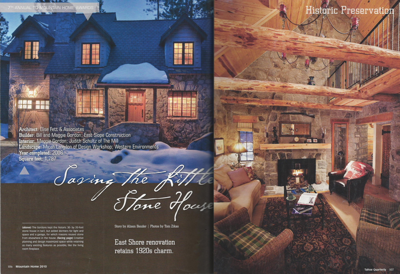 Tahoe Quarterly Award - Gordon Residence