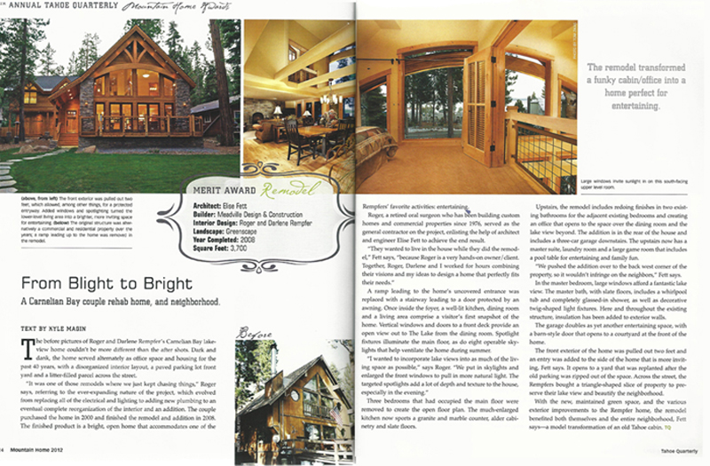 Tahoe Quarterly Awards - Rempfer Residence