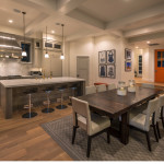 Looking at kitchen, dining, entry and mudroom door